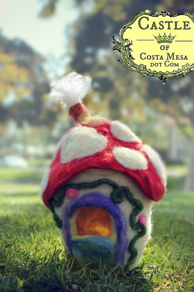 131109 Felt Mushroom gnome home front view Tanager Park