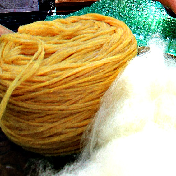 130501 Christine's fine thin flat yellow pencil roving for needle felting words on wet-felted soap