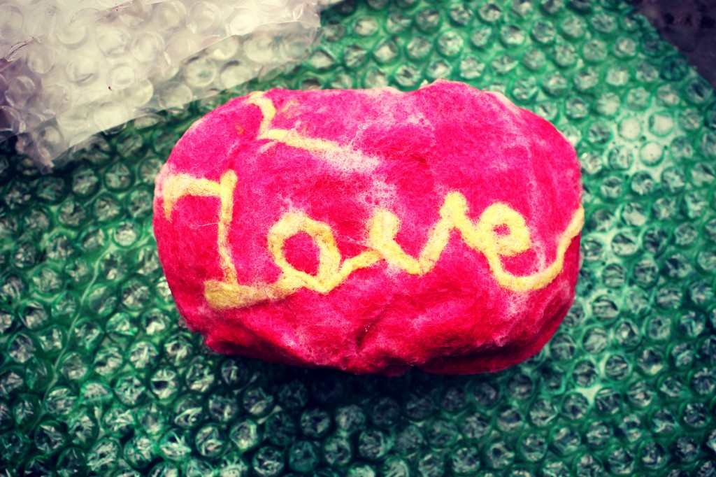 130501 Jzin's wet-felt soap with needle-felted pencil roving word