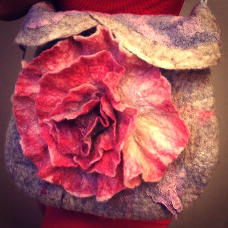 130501 cropped floral bag Nuno Felted bag Shabby pink rose Felted Purse OOAK by beatassoul, $99.00
