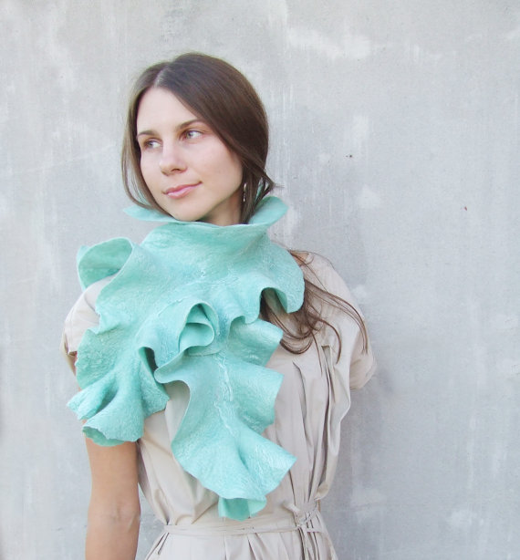 Baymut Mint felted scarf turquoise teal blue ruffle wool collar weddings fashion aquamarine winter fashion Etsy Ukraine