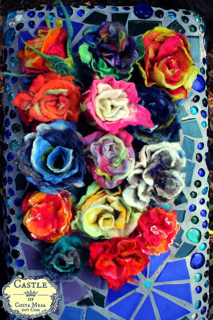 130529 14 wet-felted flowers on Rachel Skelly's mosaic bench with logo