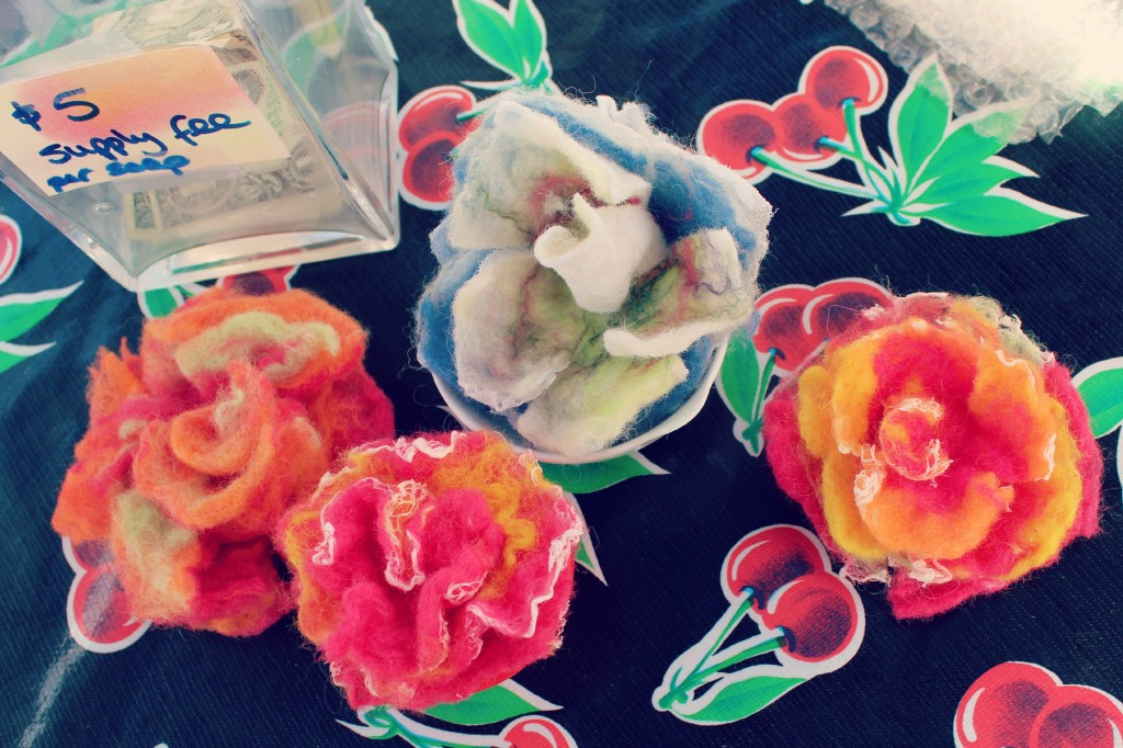 130529 Wet-felted flower examples handmade by Christine Newell for craft group