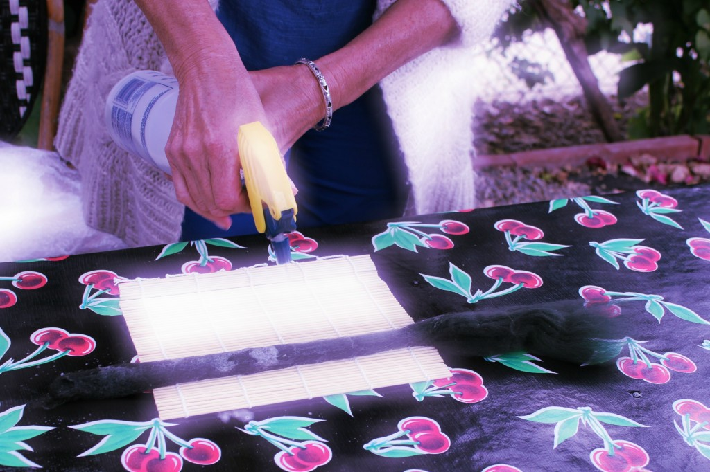 130605 Christine spraying flower stem with hot soapy water on sushi mat