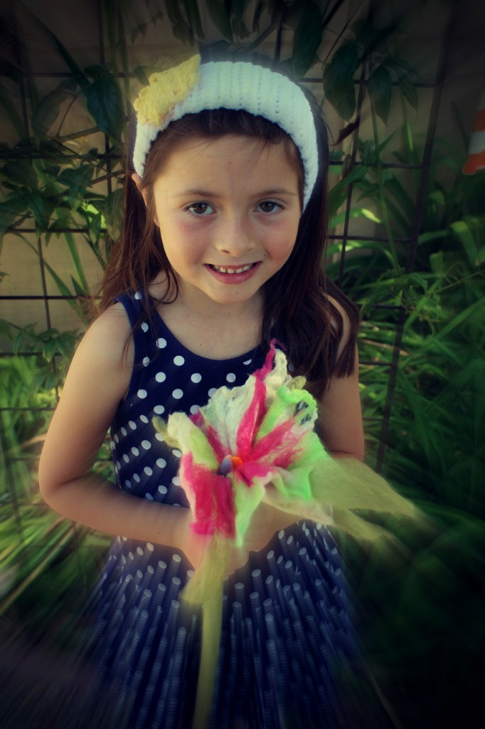 130605 Solana with her handmade long stemmed wet-felted flower