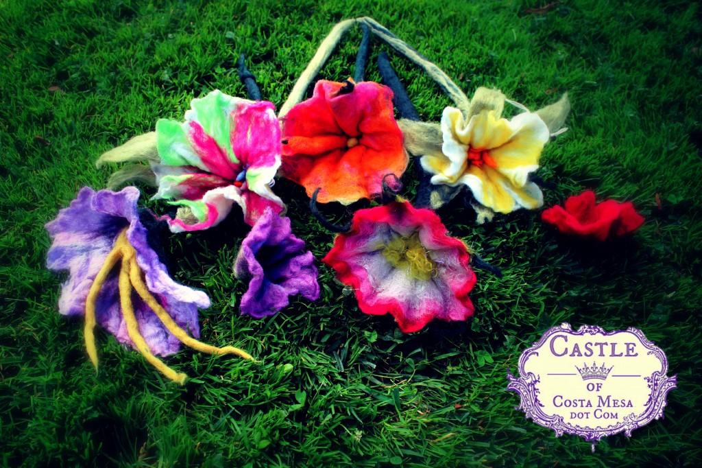 130605 wet-felted long-stemmed flowers handmade this morning