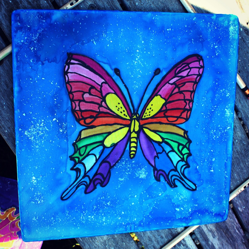 130910 Denise's rainbow colored swallow tail butterfly salted silk painting.