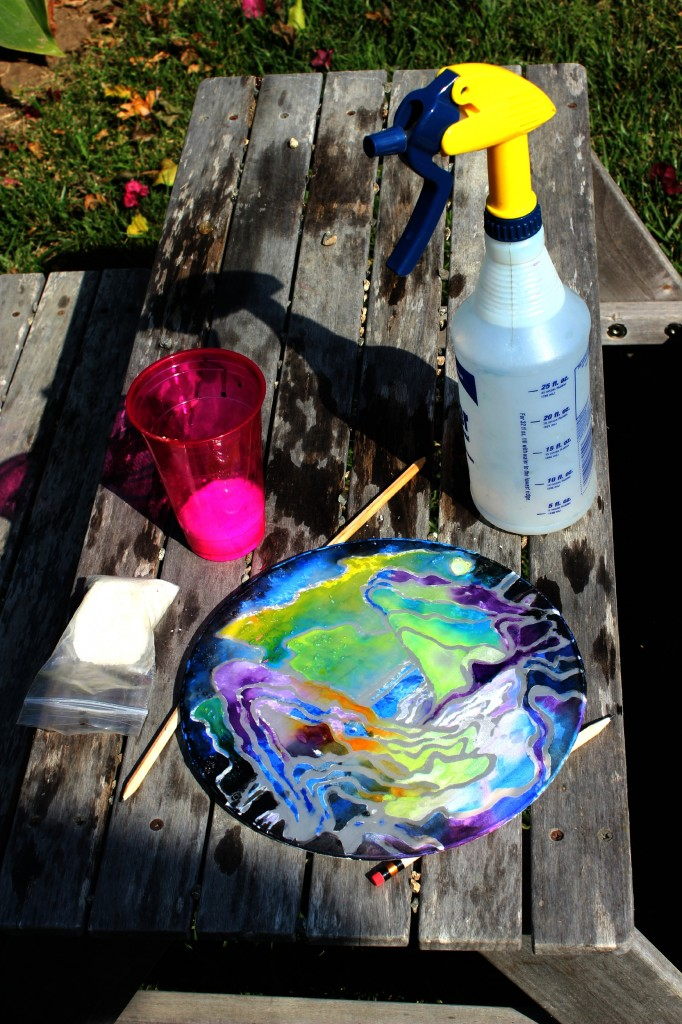 130910 Jzin's first silk painting drying in the sun