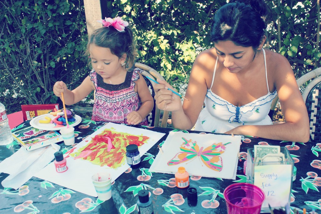 130910 Yvonne and Valentina painting butterflies on silk.