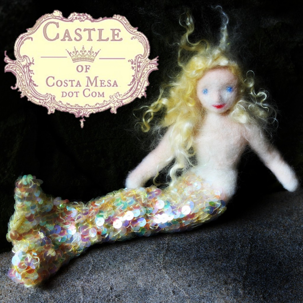130913 Southern Californian handmade needle-felted blonde Mermaid Sunshine in a cave. Square cropped.