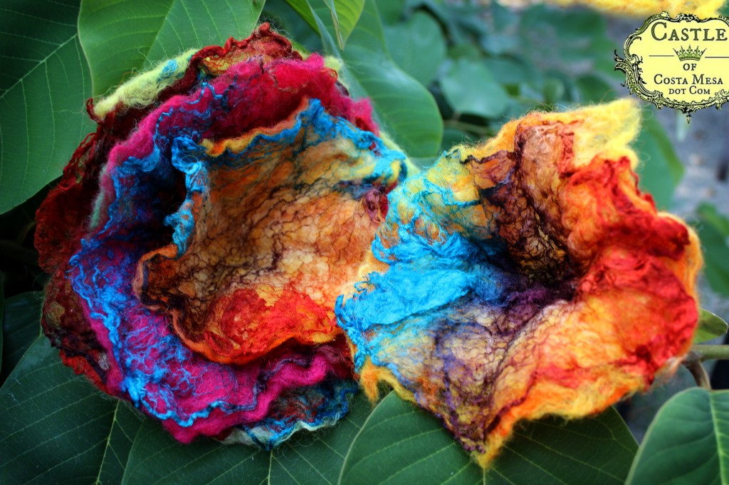 130918 Jzin's first wet-felted flowers using mawata silk hankies.