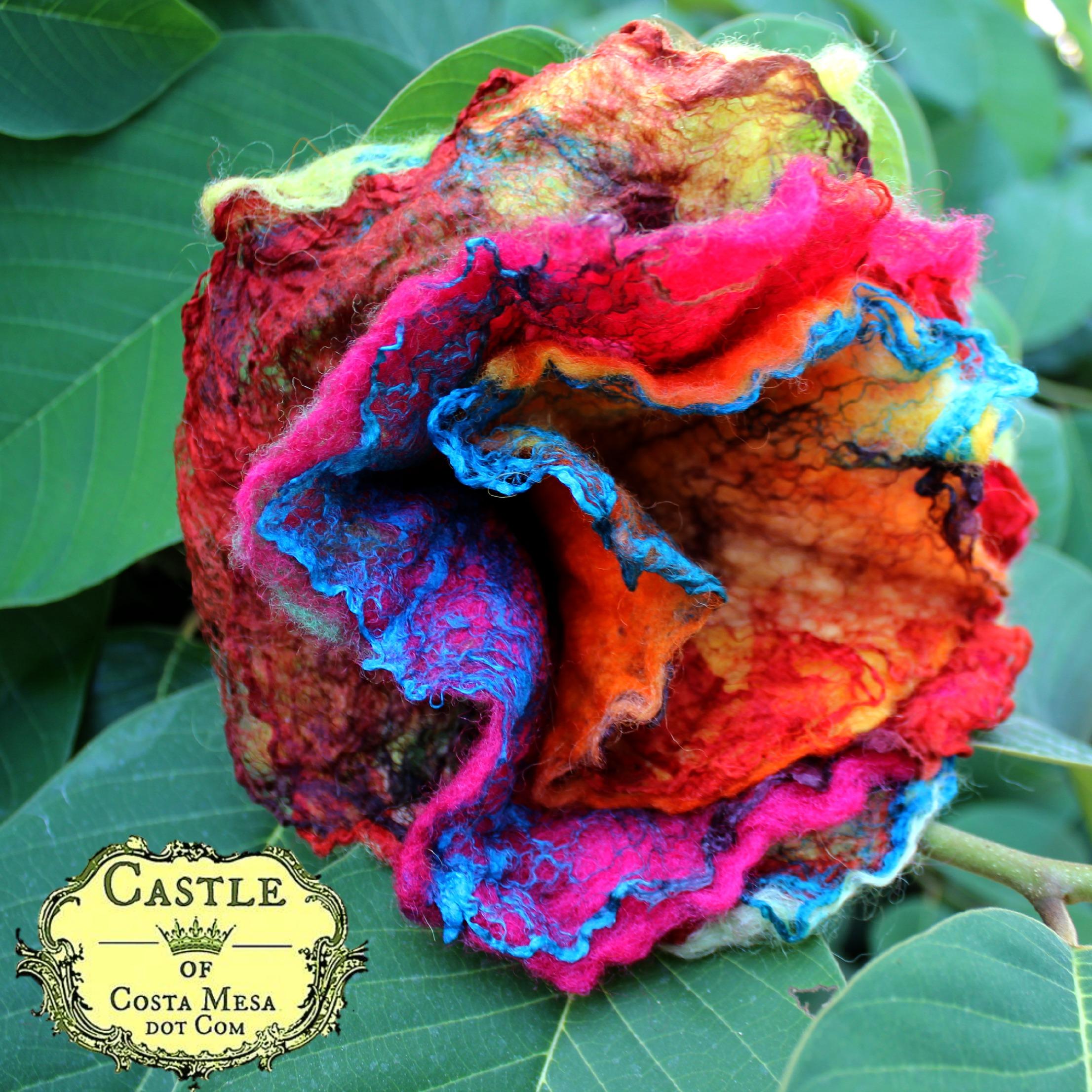 130918 Single flower. Jzin's first wet-felted flowers using mawata silk hankies