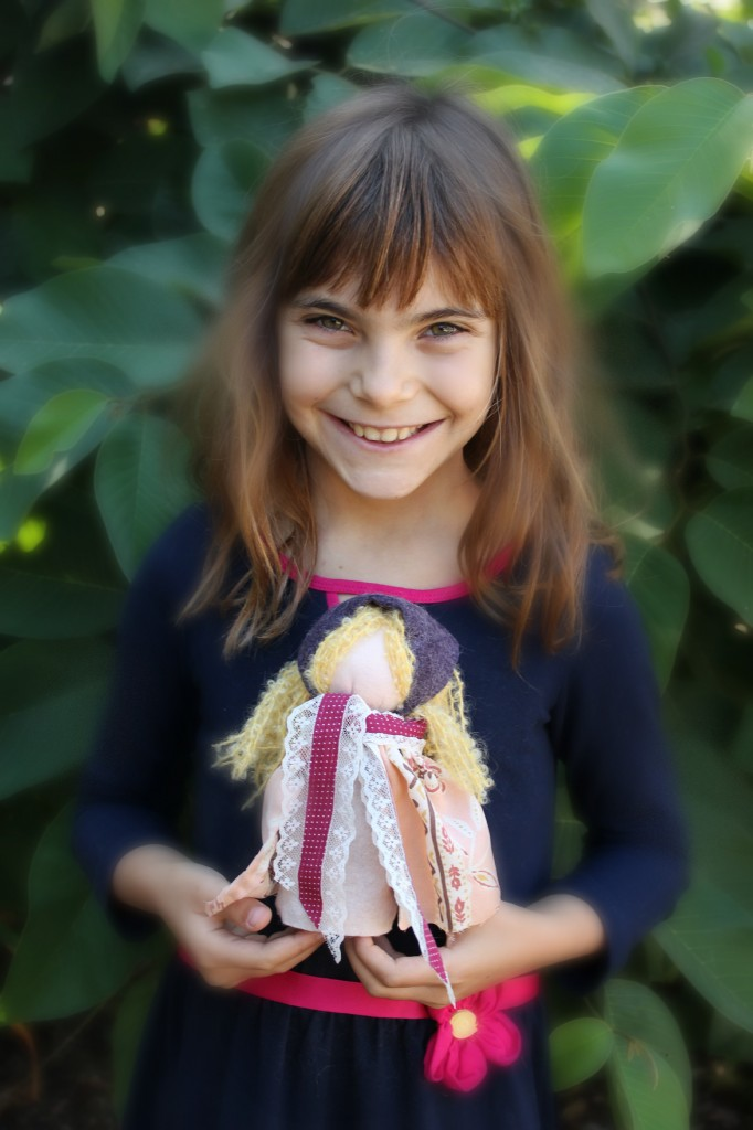 131001 Anicka with her handmade Czech peasant table top puppet doll