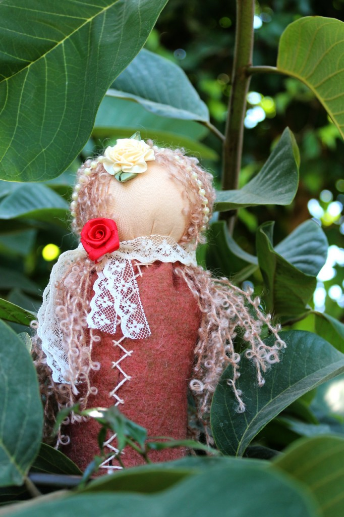 131001 Sheryll's handmade table top puppet princess doll with curly strawberry blonde hair and roses