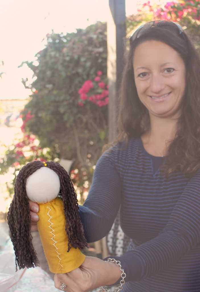 131001 Yasmine and her table top puppet doll herringbone stitch