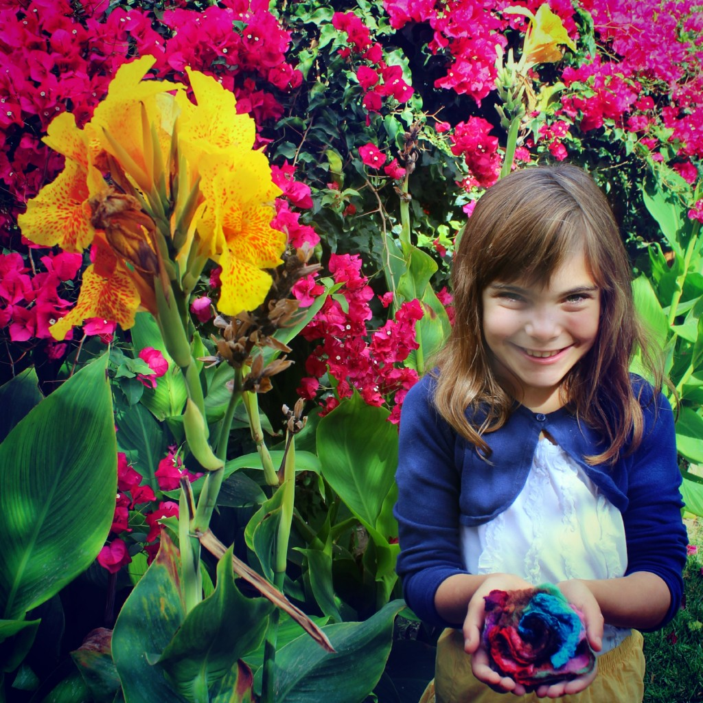 131007 Anicka holding the flower she handmade this morning