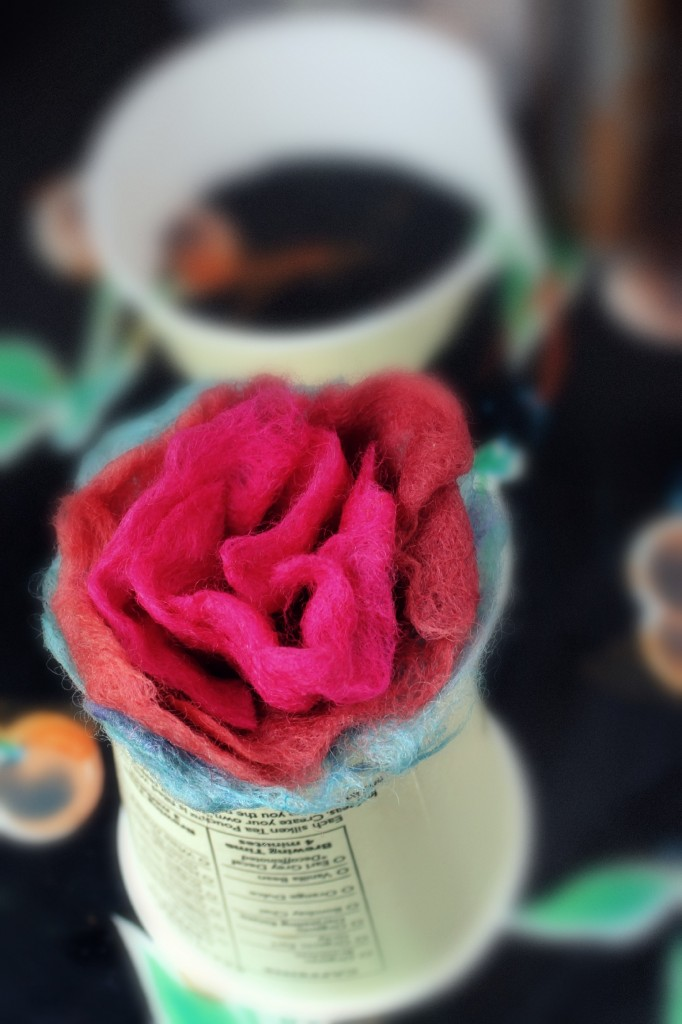 131007 Julia's wet felted rose drying in a cut-up paper coffee cup