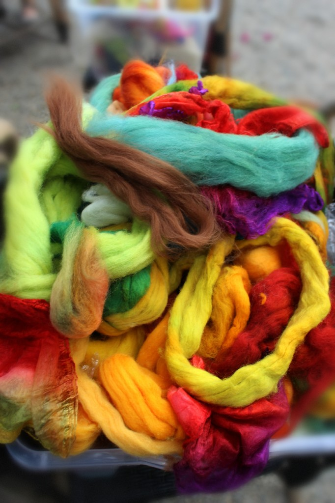 131007 big colorful bin of hand dyed wool rovings by Christine Newell