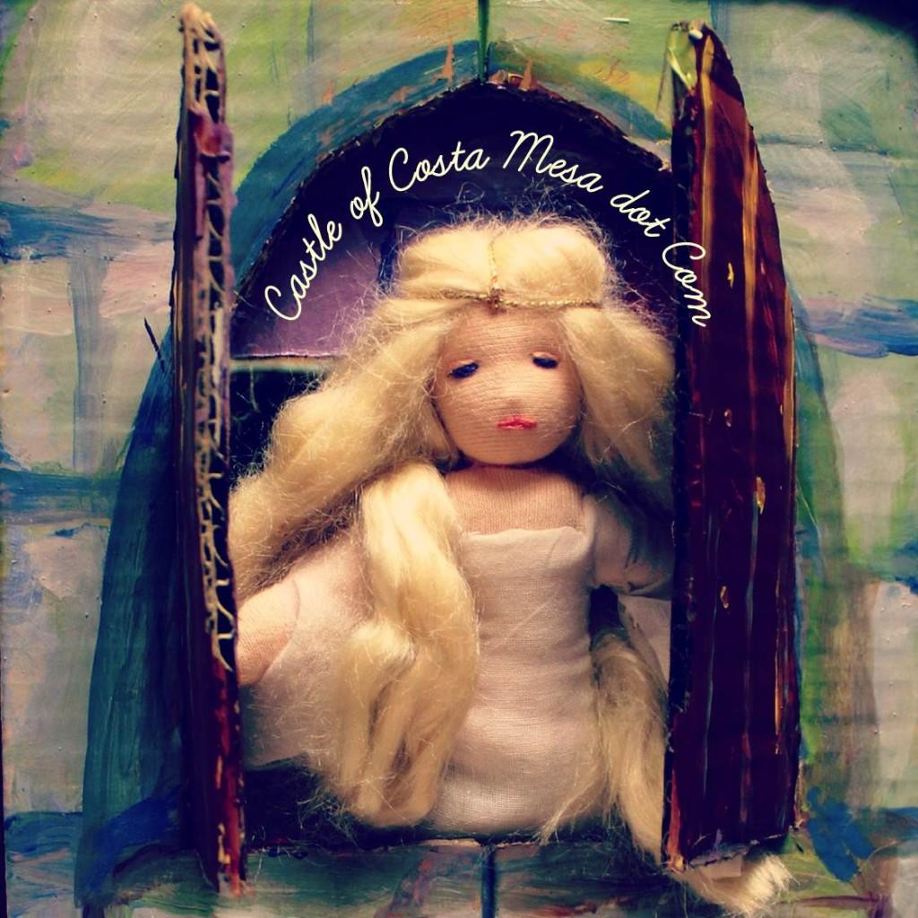 131013 Luna's miniature Sleeping Beauty with Tussah Silk hair at cardboard castle window with logo