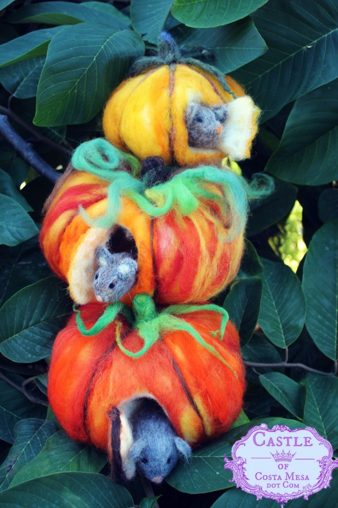 131015 Christine, Linda and Cathy's stack of needle-felted mice in pumpkins. with logo