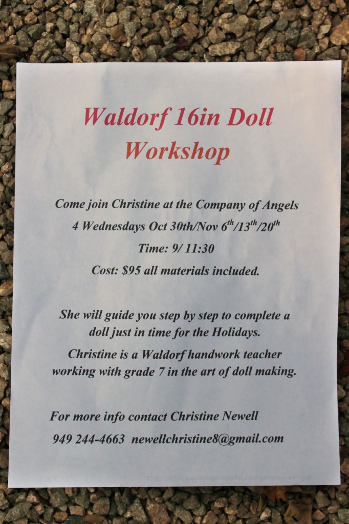 131015 Flyer for Christine Newell's next Waldorf 16 inch Doll Workshop.