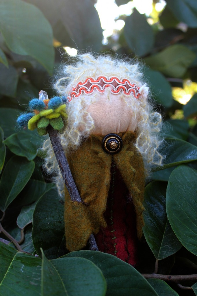131015 Gisela's handmade table top puppet doll in an olive green felt cape and crystal wand