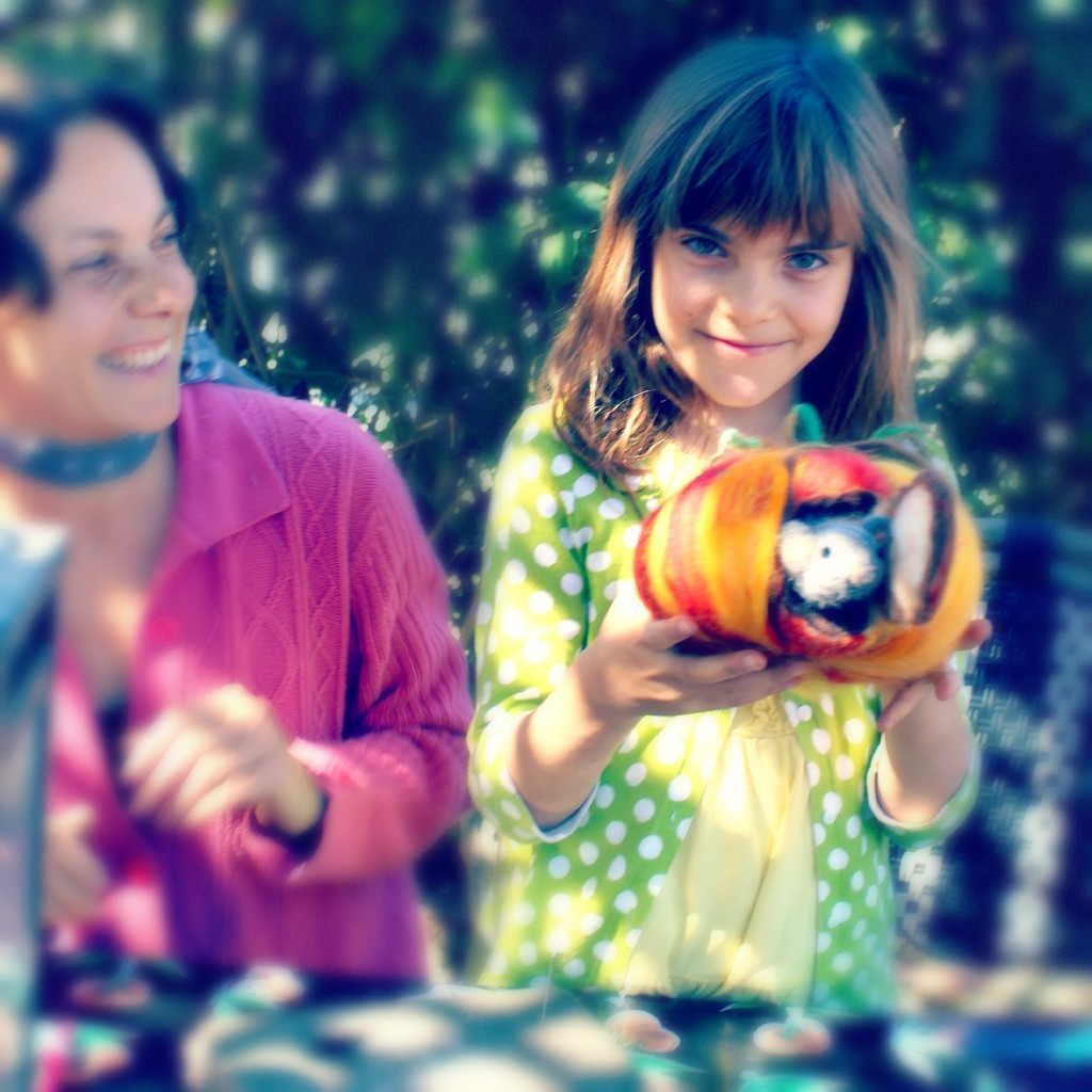 131015 Hurray! Alena and Anicka completed their felted mouse in a pumpkin craft project