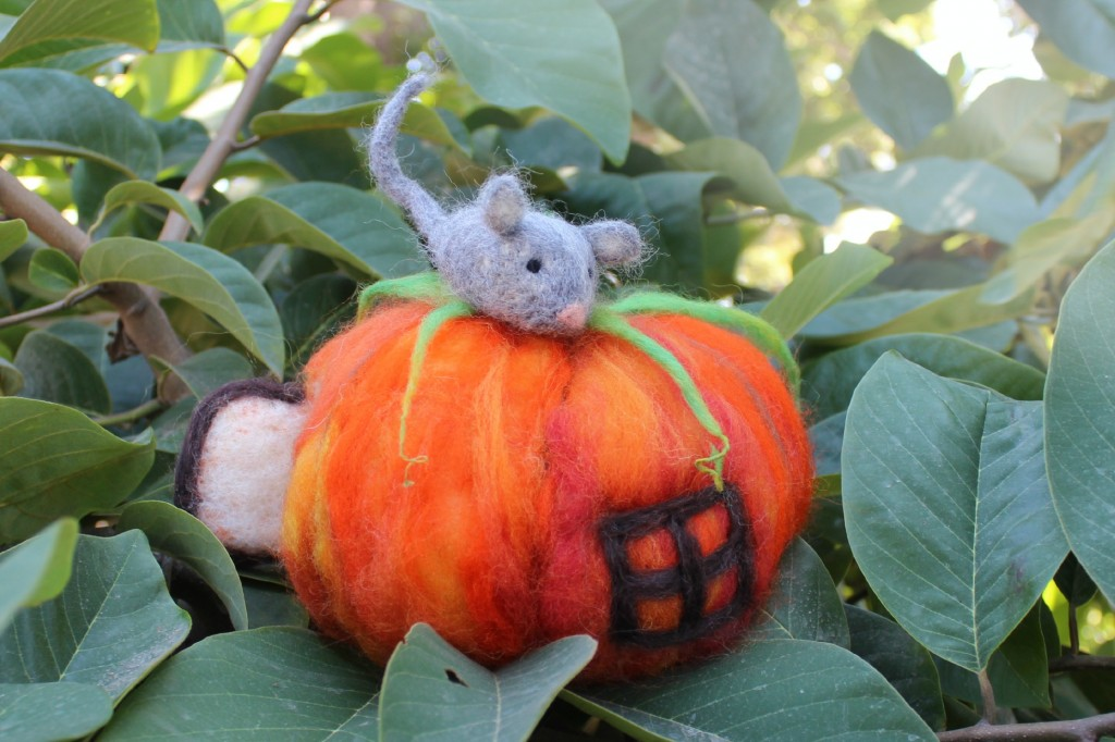 131015 Josephine's handmade needle-felted mouse atop pumpkin with door and window
