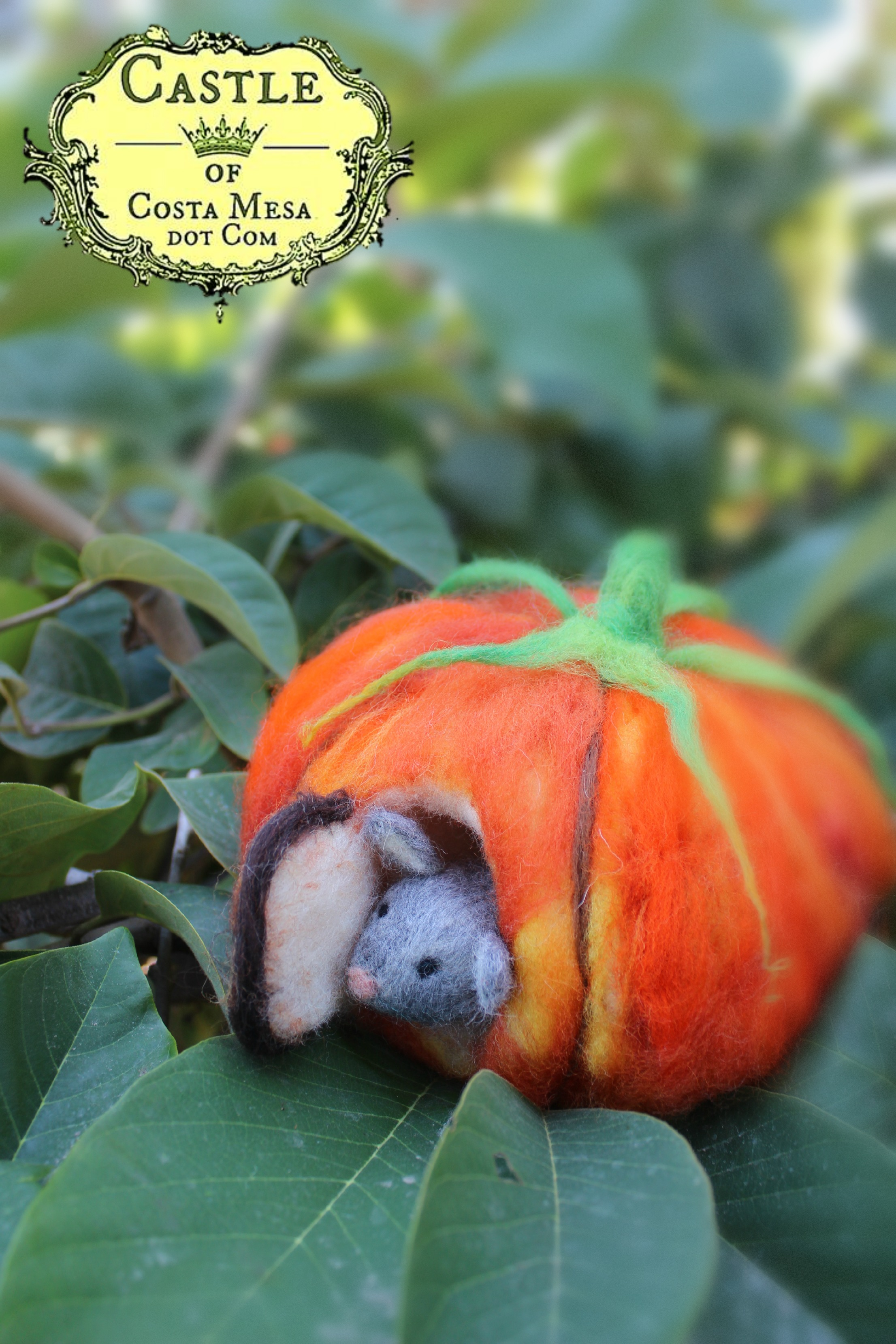 131015 Josephine's needle-felted mouse peering out the door of his orange pumpkin house front door on foggy morning