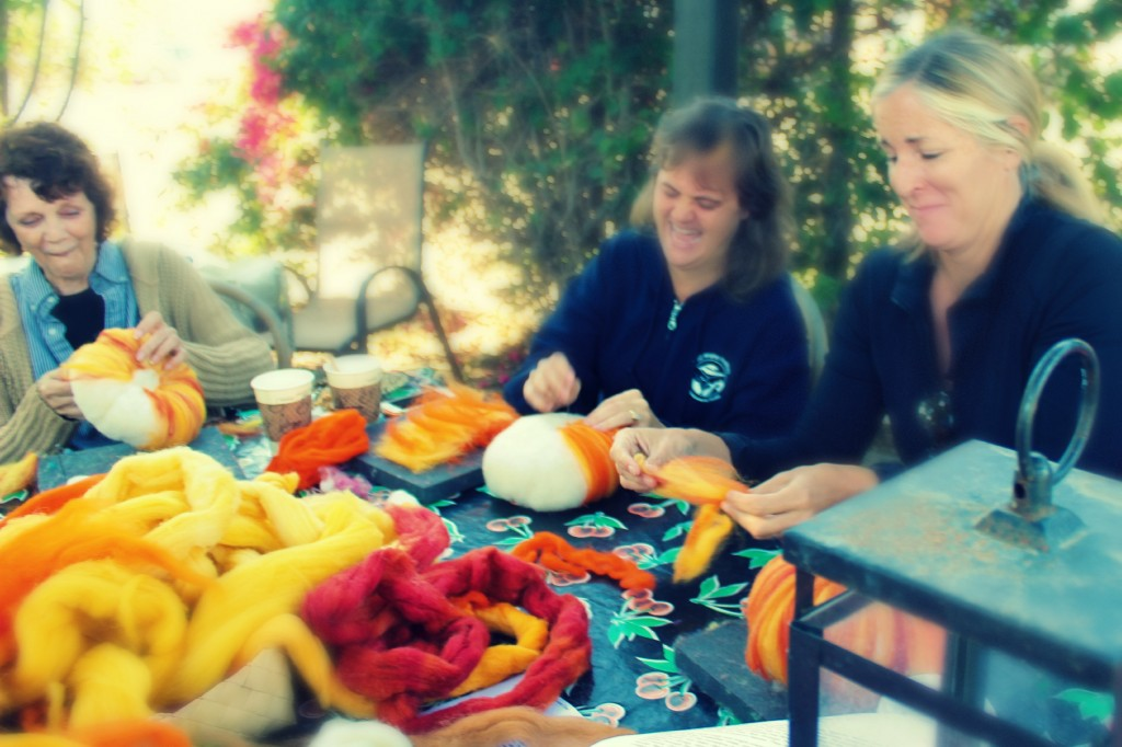 131015 Laughing Sharon, Liz and Cathy trio at craft group needle-felting table