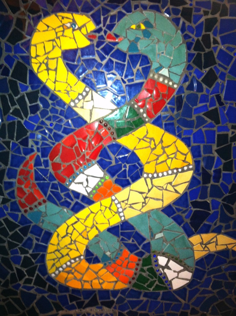 131015 Rachel Skelly. Entwine double helical segmented serpents on a blue and black back ground mosaic