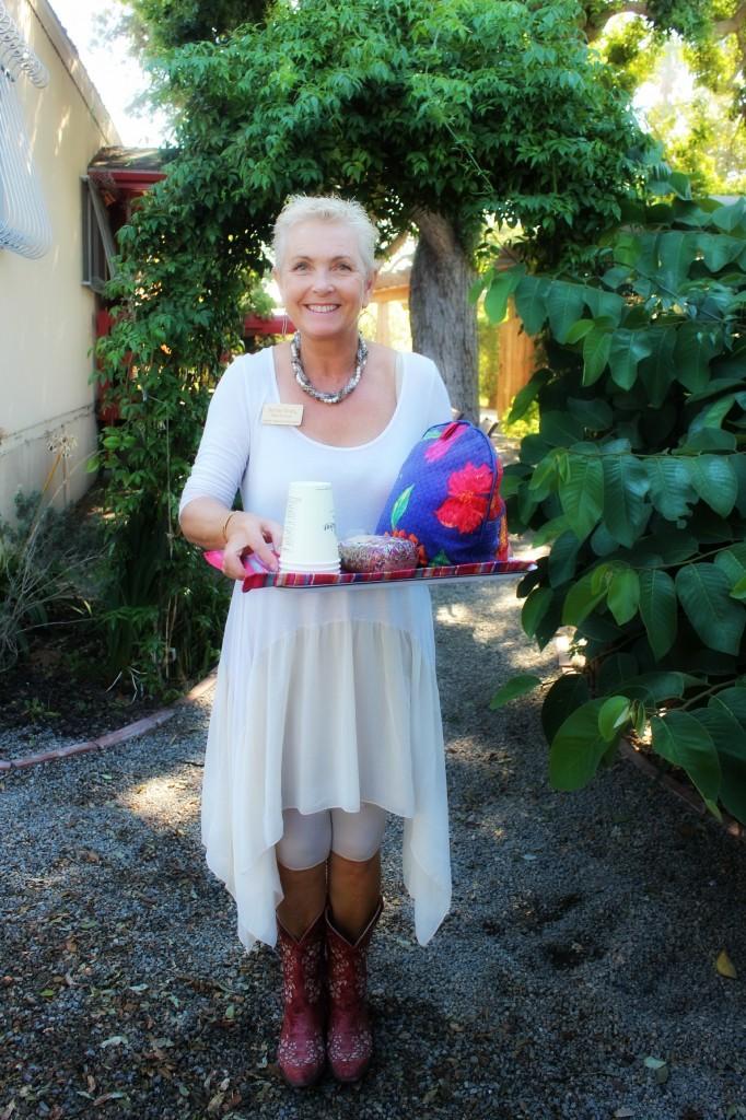 131015 Rachel serving our craft group with gourmet Belle Fleur flower petal hot tea