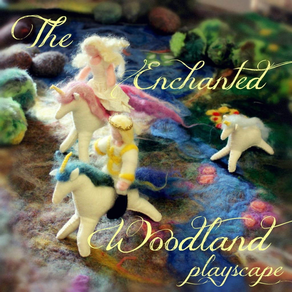 131021 The Enchanted Woodland Wet-felted Playscape. Square. Prince, princess and unicorns galloping across the woodland