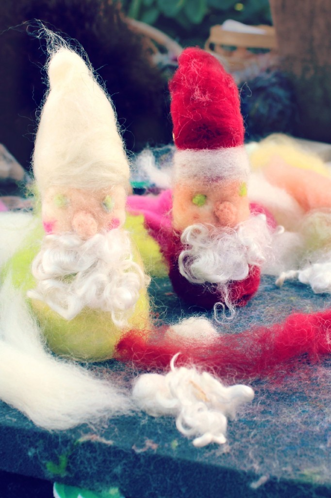 131029 Anicka's needle-felted gnome and Santa Claus on foam pad