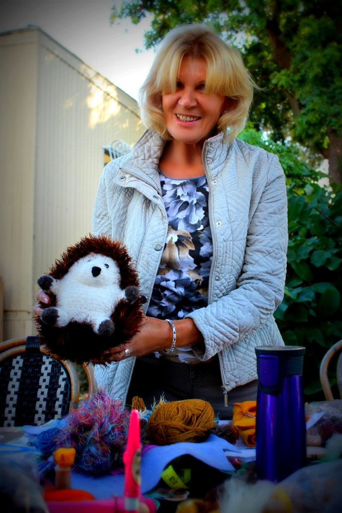 131029 Christine and her knitted and felted handmade hedgehog plush toy