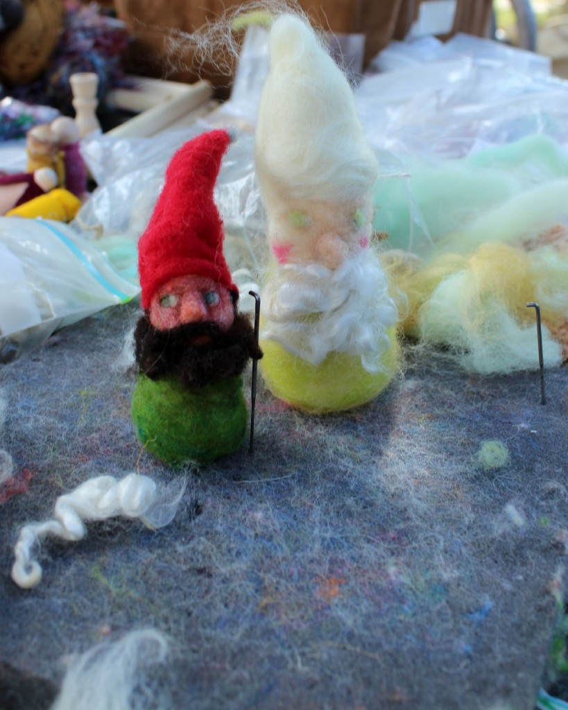 131029 Jzin's needle-felted rubicund dwarf next to Anicka's Spring gnome freshly handmade
