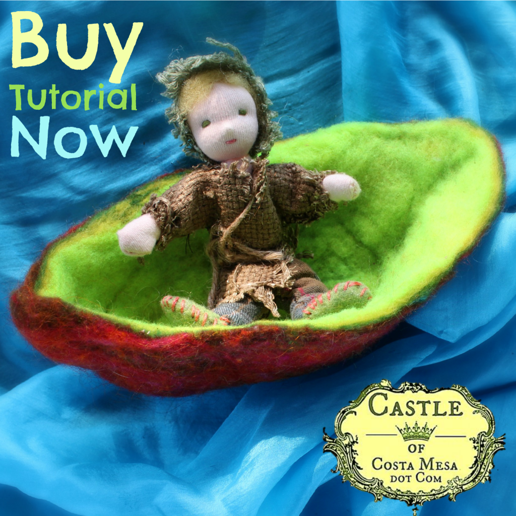 131030 Buy Tutorial Now. square. Russell the Root child adrift on a small brown boat with a lime green interior. no logo
