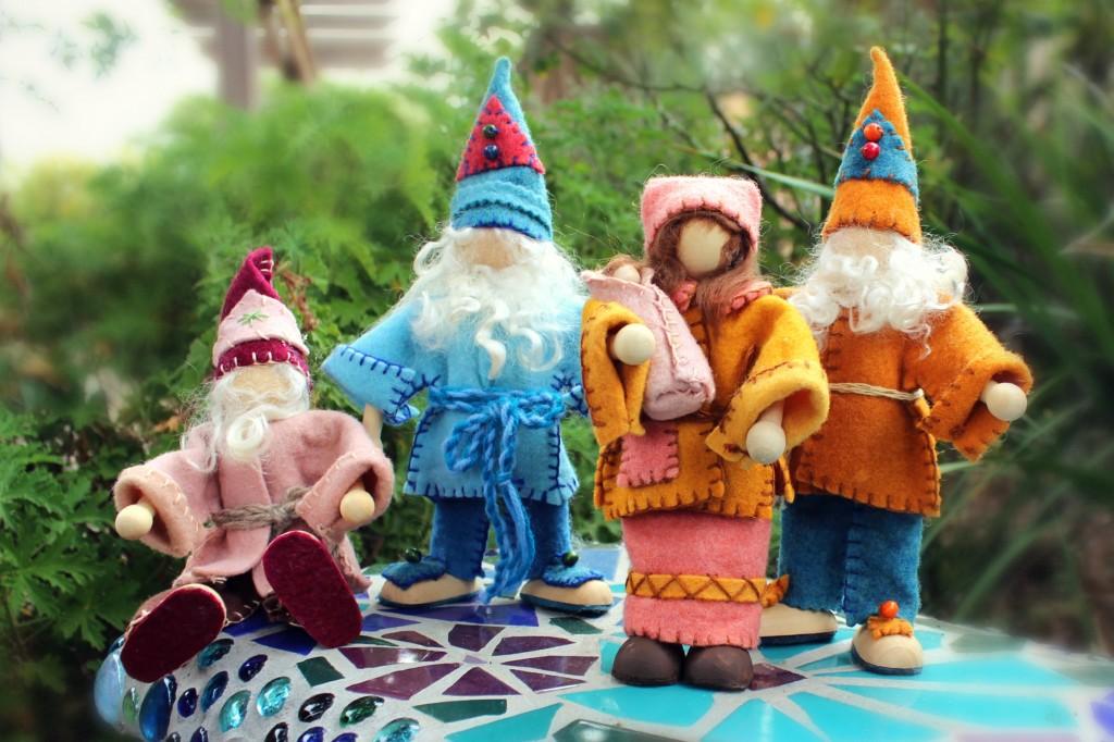131112 Christine and Josephine's handmade posable gnomes on Rachel's mosaic bench
