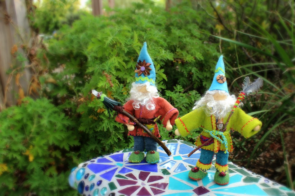 131112 Gisela's 2 handmade forest wizard gnomes with their magical wands