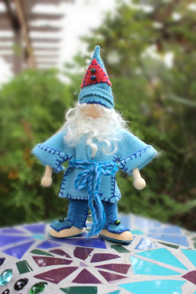 131112 Josephines's blue winter gnome in his pointy hat and blue suit