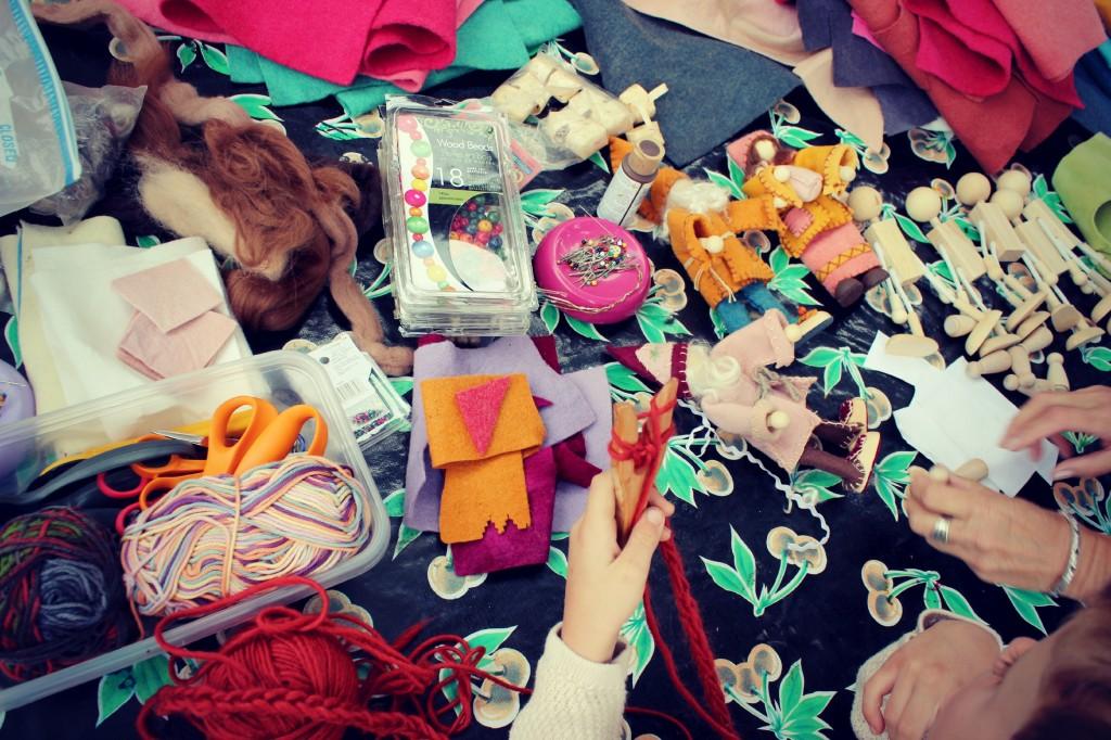 131112 a Smörgåsbord of doll making goodies at Orange County, California weekly Waldorf craft group