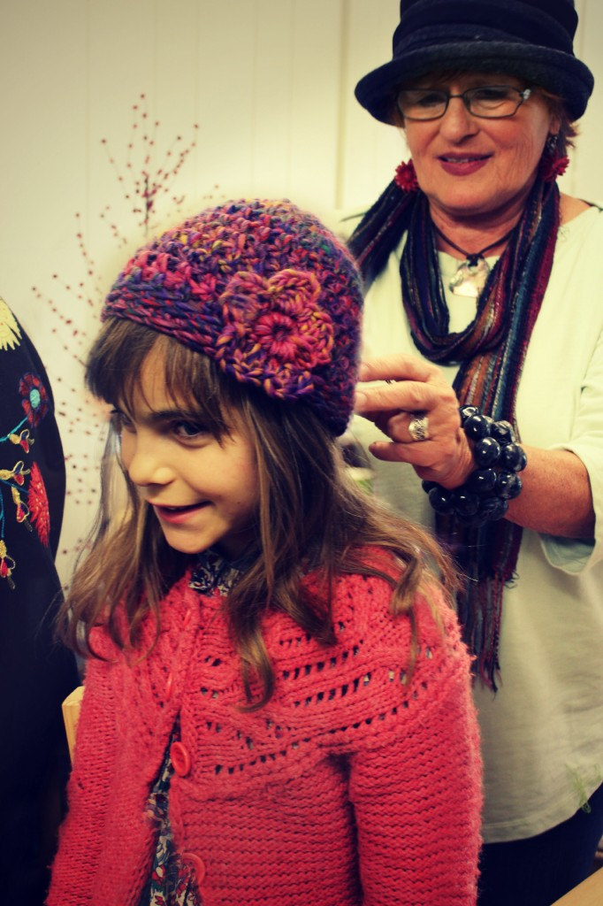 131119 Anicka modeling Gisela's newly crochet hat with large flower