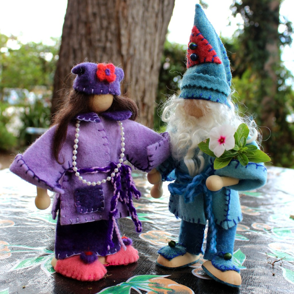 131119 Josephine's newly handmade girl gnome in purple and boy Winter gnome