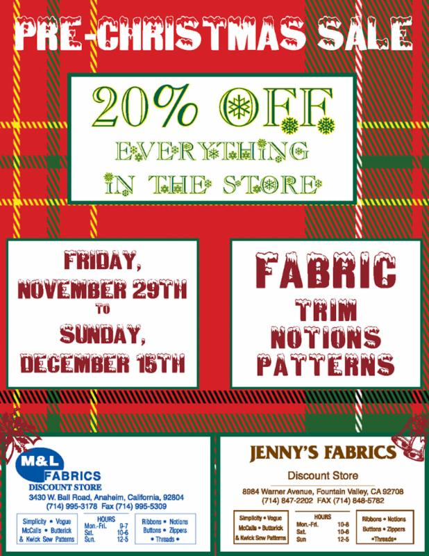 131126  Jenny's Fabric 20 percent off sale 2013