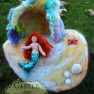 131201 Needle-felted Mermaid in front of open cave 3