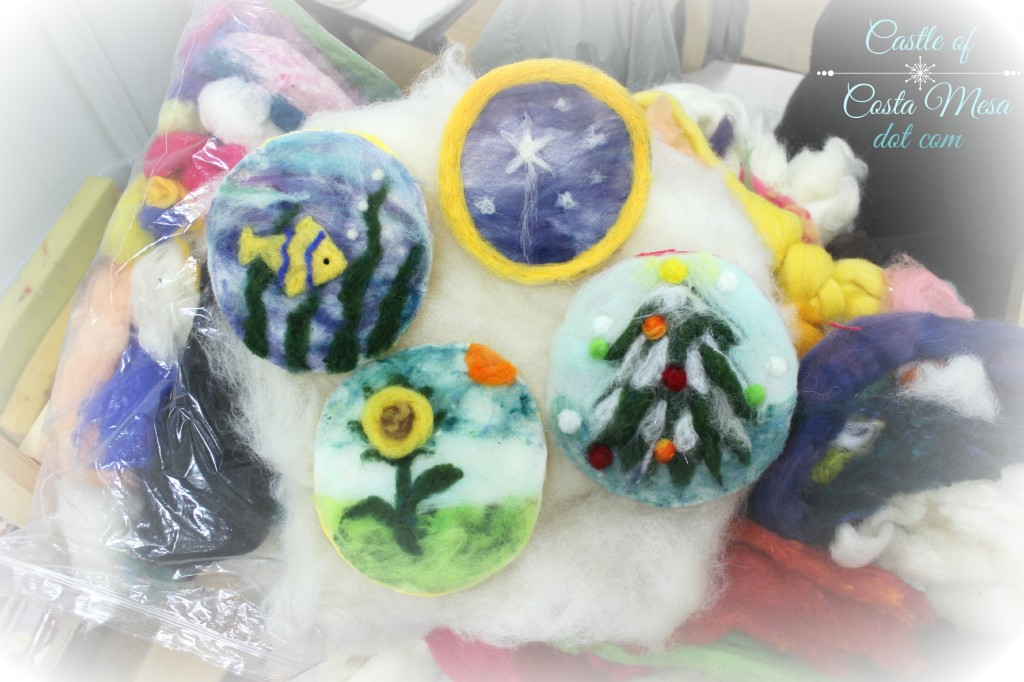 131203 4 needle-felted pictures as Christmas Tree ornaments completed at craft group this morning