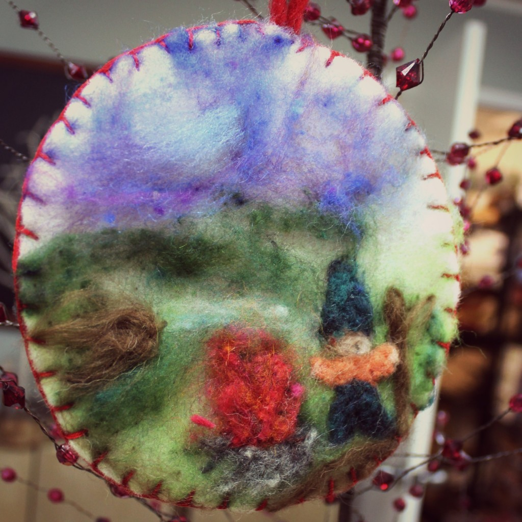 131203 Christine's Christmas tree ornament decoration of needle-felted picture of little dwarf dancing by a fire