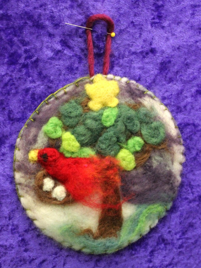 131203 Kathy's first needle-felted picture of a red cardinal nesting in a tree