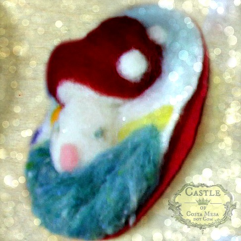 131203 Puffy fluffy 3 dimensional Needle-felted wool mushroom toadstool picture X'mas tree hanging ornament
