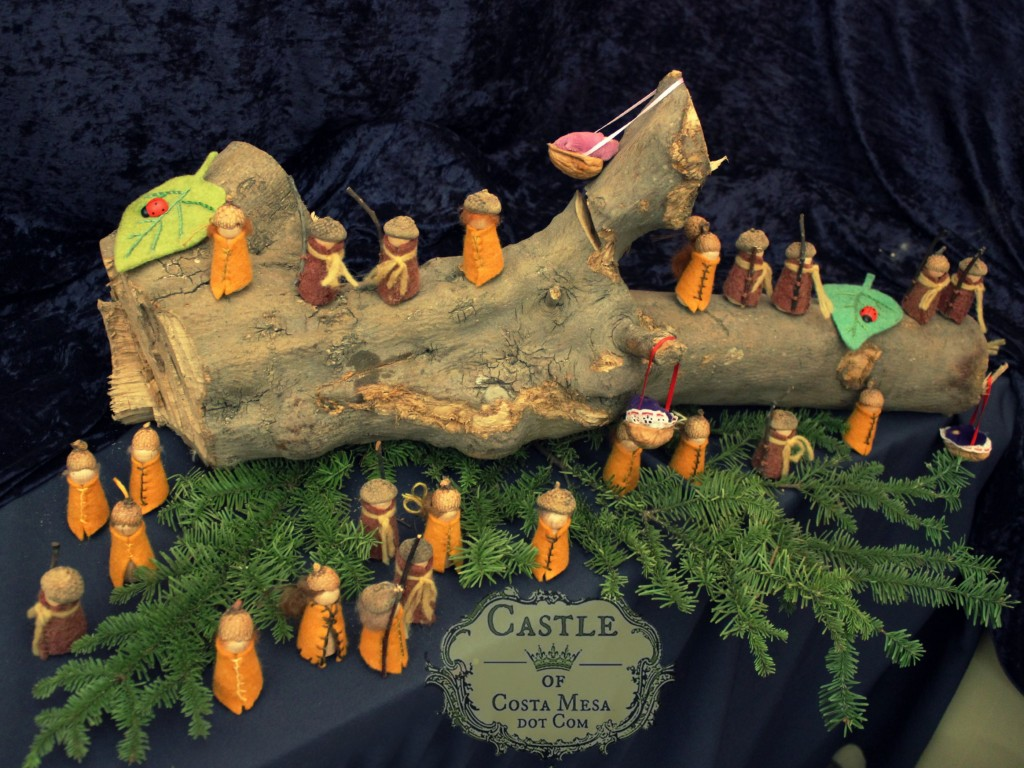 131207 Acorn gnomes on fallen maple tree log